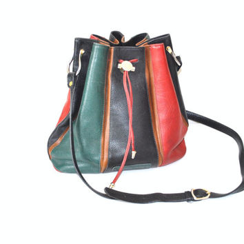 leather BUCKET bag vintage 80s 1980s PATCHWORK designer multi mulcolored slouchy DRAWSTRING purse