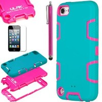 ULAK Hybrid 3 Layer Silicone Hard Case Cover for iPod Touch 5 6th Gen(Blue/Rose Pink)
