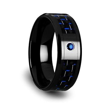 Men's Ceramic Ring With Black & Blue Carbon Fiber And Blue Sapphire Setting - 8mm