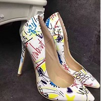 Hot style pointy shallow bold fancy heels shoes