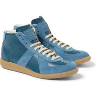 Maison Martin Margiela - Panelled Leather and Suede High Top Sneakers   MR PORTER