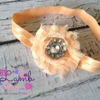 Peach Sparkle Baby Headband, Shabby Chic Headband, Couture Headband, newborn baby girl headband photography props - vintage couture boutiqu
