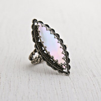 Vintage Mother of Pearl Ring - Adjustable Silver Tone W. Germany Wrapped Wire Statement Costume Jewelry / Iridescent White Navette