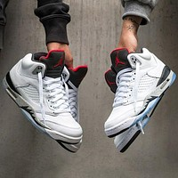 "Nike AIR Jordan 5 AJ5 ""White Water Conservancy"" Fashionable Men's and Women's Casual Sports Shoes Basketball Shoes"