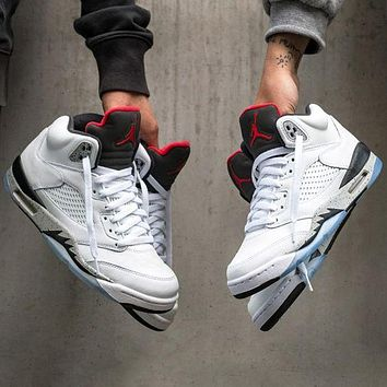 """Nike AIR Jordan 5 AJ5 """"White Water Conservancy"""" Fashionable Men's and Women's Casual Sports Shoes Basketball Shoes"""