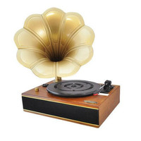 Vintage Classic Style Turntable Phonograph Vinyl Record Player with Computer Connect