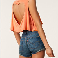 Orange Sleeveless Heart Shape Cut-Out Crop Top