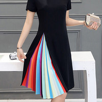 Color Block Ruffled Casual Dress Without Necklace - Fairyseason