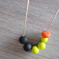 "Black neon jewelry - neon yellow,  neon orange, black -polymer clay handmade "" Round and round"""