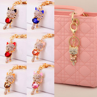 Lnrrabc Trendy Rhinestone Water Drop Key Chains For Women