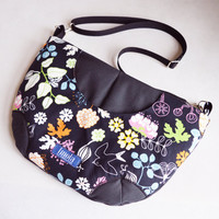 Black bird flower pattern purse crossbody bag concealed carry purse messenger bag canvas bag shoulder bag hobo bag boheme cute purse OOAK