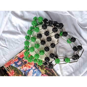 Green and Black Vintage Style Circle Beaded Purse
