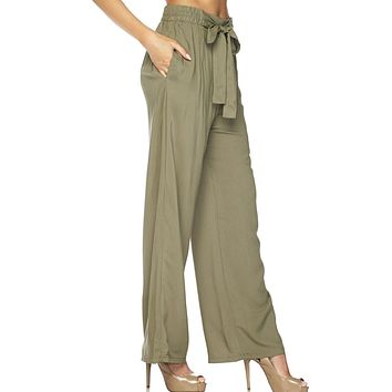 High Waisted Elastic Waist Front Belt Tie Palazzo Pants