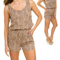 Animal Print Cut Out Romper