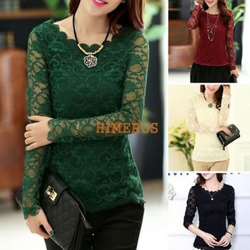 Spring Women Hollow Out Lace Blouses Long Sleeve Shirts Tops Shirt Casual Shirts Blouse = 1956775940