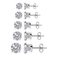 TDEZ-ROUND-SET Sterling Silver 3mm 4mm 5mm 6mm & 7mm Round Sparkling Clear Cubic Zirconia Stud Earrings Set