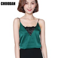 Satin Tank Top Lace Patchwork Sexy V-neck Camisole Tank Summer 2017 Fashion Korean Style Sleeveless Women Tops Fitness Clothing