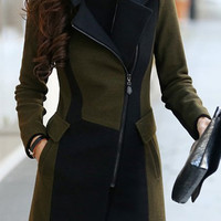 Army Green and Black Turn-Down Collar Long Sleeve Coat