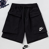 NIKE Summer New Fashion Letter Hook Print Women Men Shorts Black