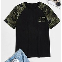 Fashion Casual Men Camo Raglan Sleeve Number Print Tee