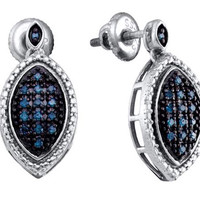 Blue Diamond Fashion Earrings in White Gold-plated silver 0.25 ctw