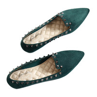 Rivet Flat Plus Size Low-cut Fluff Pointed Thin Shoes  green  35