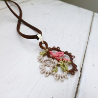 Tatted lace necklace, pink pendant, women's accessories, women's jewelry, handmade necklace, steampunk, victorian era, lace jewelry
