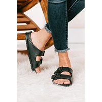 Be The Change Double Buckle Sandals (Black)