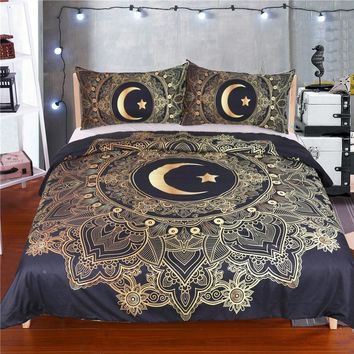 Mandala Bed Linen Sets 3pcs Duvet Cover Star Moon Bedding Sets Queen/King Soft Quilt Cover With Pillowcase 3d Bed Sheet Set