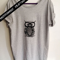 OWL  Tshirt, Off The Shoulder, Over sized, street style slouchy, loose fitting, graphic tee, screen printed by hand, women's, teens.