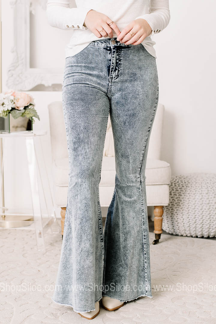 Image of You're Worth It Corduroy Flare Jeans | Ice Grey