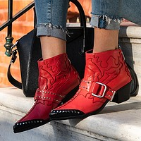 New Ankle Boots Women Rivets Buckle Designer High Heel Shoes Pointed Toe Wedge Cowboy Boots Fashion Short Boots