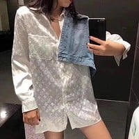 Louis Vuitton LV Long jacquard sun protection shirt loose casual bottoming shirt top
