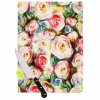 """Dawid Roc """"Pastel Rose Romantic Gifts"""" Green Photography Cutting Board"""