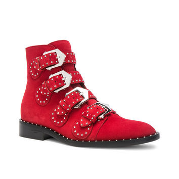 Givenchy Elegant Studded Suede Ankle Boots in Red | FWRD