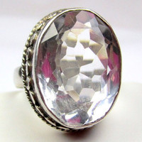 Sterling Silver Crystal Ring 1950s Vintage Jewelry