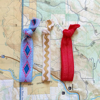 Red Lady Hair Tie Set | 3 Ties | Elastic | Soft & Stretchy