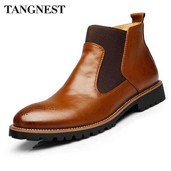 Tangnest Newest 2018 Men's Ankle Boots British Style Cow Split Leather Chelsea Boots Casual Rubber Shoes Man Size 38-44 XMX533