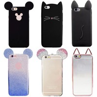 YRFF cartoon cat mouse silicon phone cover case For iPhone 5 5s 7 plus 6s 6 plus Fundas Luxury Rhinestone mouse Beard cat cover