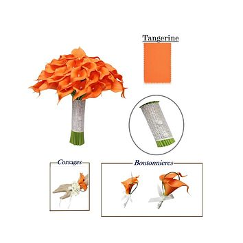 Tangerine Calla Lily Bouquets, Corsages, Boutonnieres *Build Wedding Package*