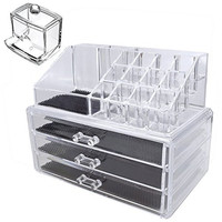 KES SCO601-C1 Acrylic 3-Drawer Multipurpose Storage Container Cosmetics or Makeup Organizer with Cotton Swab Box, 3 Pieces Set
