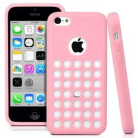 Unique Hole Design TPU Silicone Gel Case Cover for iPhone 5C (Pink)