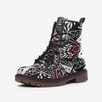Leather Boots, Black and Red Floral Style Martin Boots