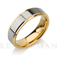 Mens Tungsten Carbide Wedding Band Ring 6mm 18k Yellow Gold Polished Shiny Beveled Edges Comfort Fit Custom Engraved