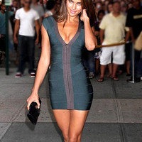 Sexy V Neck Green Bodycon Party Bandage Dress