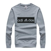 ADIDAS winter new tide brand loose hooded men's round neck sweater grey