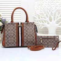Coach Women Fashion Leather Handbag Crossbody Shoulder Bag Satchel Two Piece Set