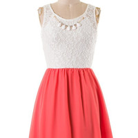 Sweet Lace Dress with Necklace - Coral