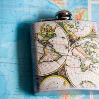 World Map Flask, Vintage Orbis Map Dude Gift, Rustic Flask 7 oz Whiskey, Father's Day, Antique Silver