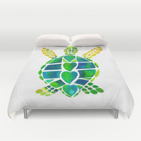 Turtle Love Duvet Cover by Catherine Holcombe   Society6
